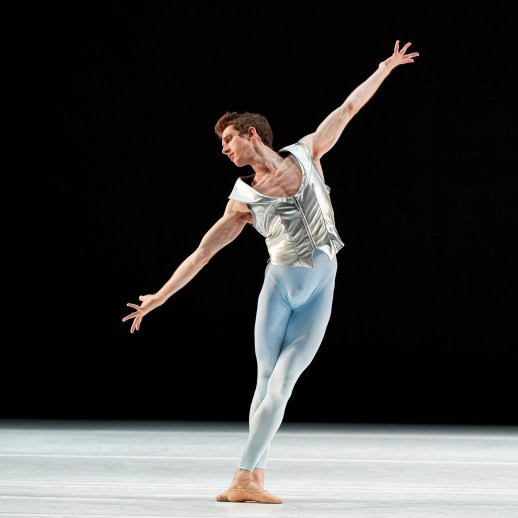 Brian Simcoe in the company premiere of Nicolo Fonte's Presto, one of four works on Oregon Ballet Theatre's IMPACT program, running April 16 - 25, 2015 at the Newmark Theatre. Photo by Yi Yin.